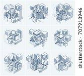 3d abstract vector isometric... | Shutterstock .eps vector #707913946