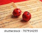 decorative bells on music... | Shutterstock . vector #707914255