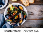 delicious seafood mussels with... | Shutterstock . vector #707925466