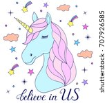 head of hand drawn unicorn on... | Shutterstock .eps vector #707926585