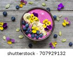 smoothie bowl with fresh... | Shutterstock . vector #707929132