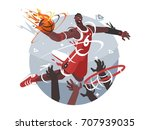 basketball player with ball... | Shutterstock .eps vector #707939035