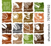 nuts icon set | Shutterstock .eps vector #707939932
