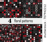 set of four seamless floral... | Shutterstock .eps vector #707942212