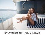woman portrait on yacht. sea... | Shutterstock . vector #707942626