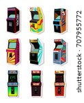 vector set of retro arcade... | Shutterstock .eps vector #707955772