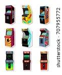 vector set of retro arcade... | Shutterstock .eps vector #707955772
