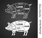 pork cuts diagram isolated on... | Shutterstock .eps vector #707957755
