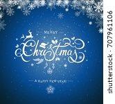 christmas typography ... | Shutterstock . vector #707961106