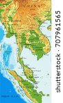 indochina physical map | Shutterstock .eps vector #707961565