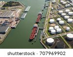Aerial View Of Oil Tankers...