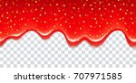 realistic drips of strawberry... | Shutterstock .eps vector #707971585