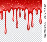 realistic drips of strawberry... | Shutterstock .eps vector #707971612