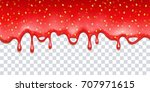 realistic drips of strawberry... | Shutterstock .eps vector #707971615