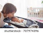 beautiful boy  hugging with... | Shutterstock . vector #707974396