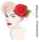 Woman's Face And Red Rose