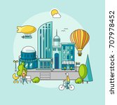 modern city. city landscape...   Shutterstock .eps vector #707978452