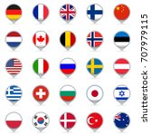 flag icon set. map pointers or... | Shutterstock . vector #707979115