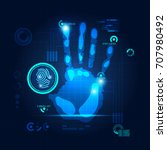 hand scan in futuristic style ...   Shutterstock .eps vector #707980492