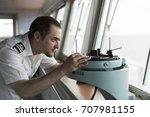 senior navigation officer doing ... | Shutterstock . vector #707981155