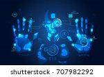 man using futuristic interface  ... | Shutterstock .eps vector #707982292