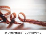 movie film strips on wooden... | Shutterstock . vector #707989942