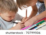 elementary age kids drawing... | Shutterstock . vector #70799506
