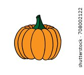 orange pumpkin  vector... | Shutterstock .eps vector #708002122