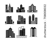 city skyscrapers silhouettes... | Shutterstock .eps vector #708008032