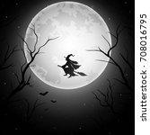 halloween background with... | Shutterstock .eps vector #708016795