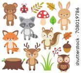 cute woodland animals set and... | Shutterstock .eps vector #708019786