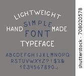 hand drawn  simple alphabet.... | Shutterstock .eps vector #708020578