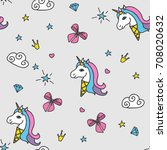 seamless pattern with ice cream ... | Shutterstock .eps vector #708020632