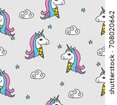 seamless pattern with ice cream ... | Shutterstock .eps vector #708020662