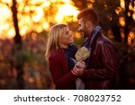 romantic moment  smiling couple ... | Shutterstock . vector #708023752