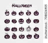 set pumpkins for halloween   | Shutterstock .eps vector #708026905