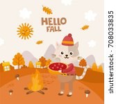 hello fall greeting card. cute... | Shutterstock .eps vector #708033835