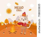 hello fall greeting card. cute... | Shutterstock .eps vector #708033835
