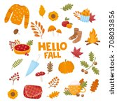 set of different autumn... | Shutterstock .eps vector #708033856