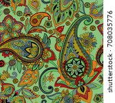 paisley. a pattern based on the ... | Shutterstock . vector #708035776