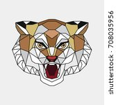 stylized head of a tiger. the... | Shutterstock . vector #708035956