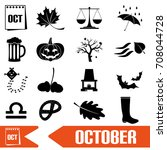 october month theme set of... | Shutterstock .eps vector #708044728