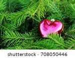 spruce twig with heart shaped... | Shutterstock . vector #708050446