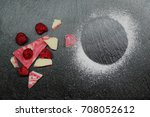 raspberry and chocolate with... | Shutterstock . vector #708052612