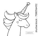 unicorn. magical animal. vector ... | Shutterstock .eps vector #708056452