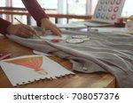 stylish fashion designer work... | Shutterstock . vector #708057376