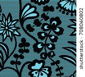 lace black seamless pattern... | Shutterstock .eps vector #708060802