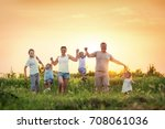 large family with children ... | Shutterstock . vector #708061036