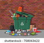 plastic garbage bin full of... | Shutterstock .eps vector #708063622