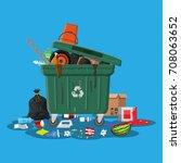 plastic garbage bin full of... | Shutterstock .eps vector #708063652